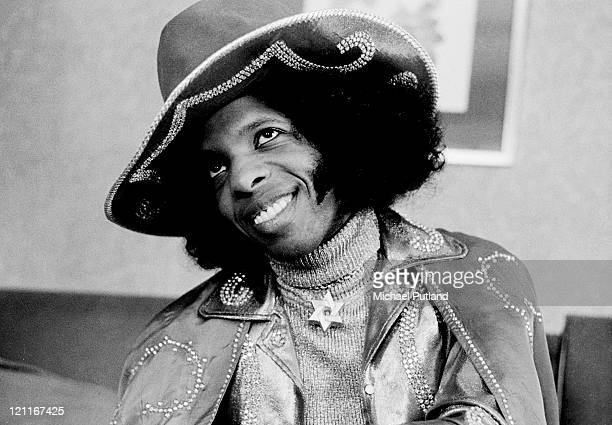Sly Stone of Sly And The Family Stone posed in London on 16th July 1973