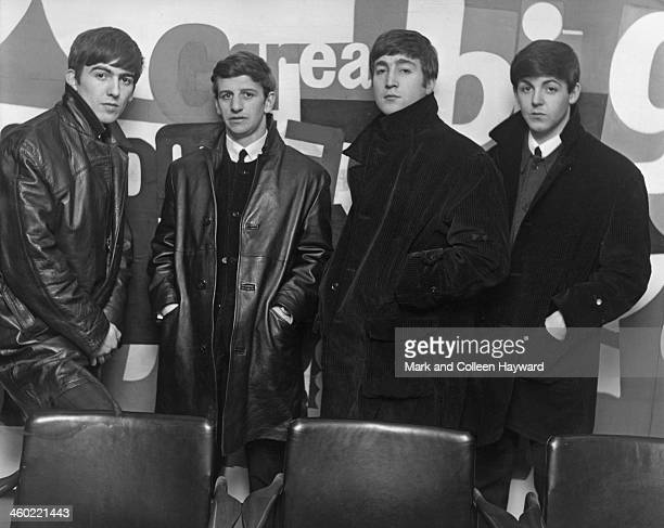 The Beatles posed at the Austin Reed store in Regent Street London on 16th July 1963 Left to right George Harrison Ringo Starr John Lennon and Paul...