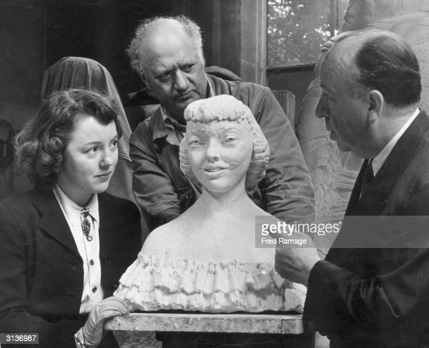 British sculptor Jacob Epstein has just finished his model of Patricia Hitchcock daughter of British film director Alfred Hitchcock