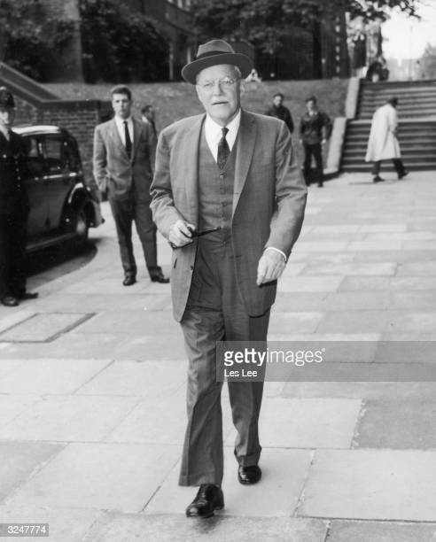 Allen Welsh Dulles , brother of the late John Foster Dulles and Chief of the CIA, arrives at the Foreign Office in London to pay a visit to Sir...