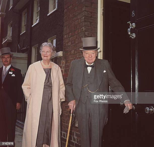 Sir Winston and Lady Churchill leaving their Hyde Park Gate home for an Ascot race meeting