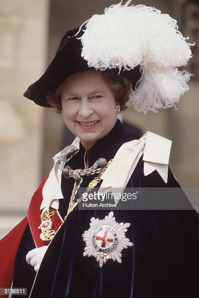 Queen Elizabeth II of Great Britain at Windsor for the ceremony of the Order of the Garter