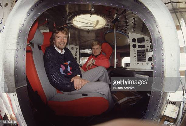 Tycoon Richard Branson in the cabin of the Virgin balloon 'Virgin Atlantic Flyer' at Gatwick airport before it was taken to its starting point in...