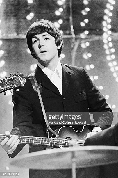 Paul McCartney from The Beatles performs 'Rain' and 'Paperback Writer' on BBC TV show 'Top Of The Pops' in London on 16th June 1966.