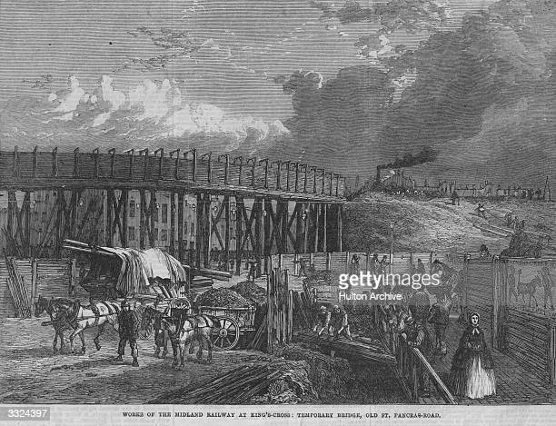 Midland Railway works in progress at Old St Pancras near King's Cross London Original Publication Illustrated London News