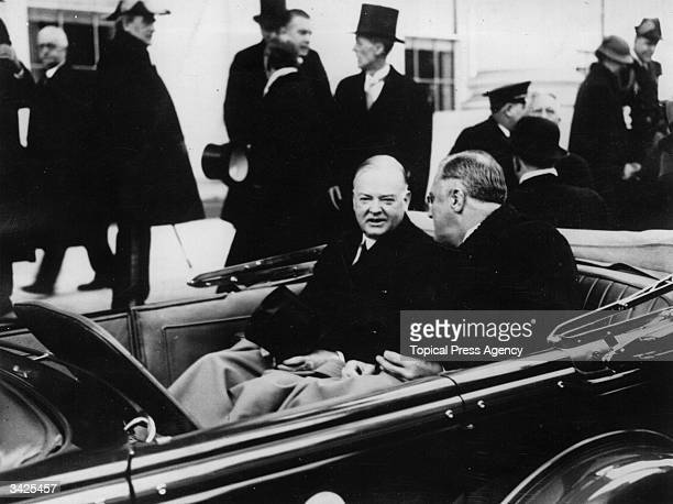 Franklin Delano Roosevelt the 32nd President of the United States of America leaving the White House Washington DC for the Capitol on his inaugural...