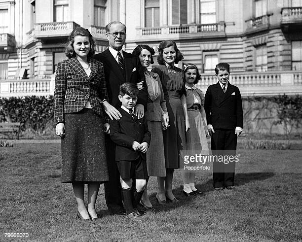 16th March 1938 London England New American Ambassador Joseph Patrick Kennedy in the garden of the London US Embassy with his wife Rose and 5 of...