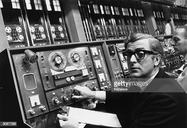 English film star Michael Caine plays the cockney spy Harry Palmer in Harry Saltzman's film 'Billion Dollar Brain' A Honeywell computer worth £150000...
