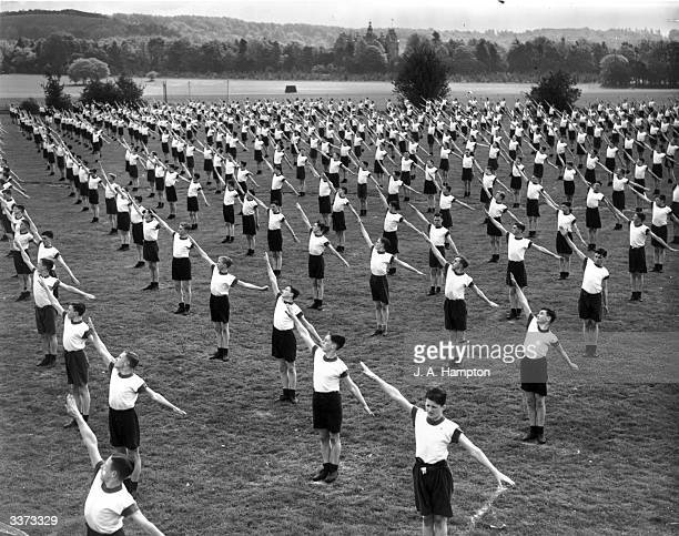 The dress rehearsal for a physical training display by 1,500 RAF apprentices at the Halton RAF Empire Air Day programme in Buckinghamshire.