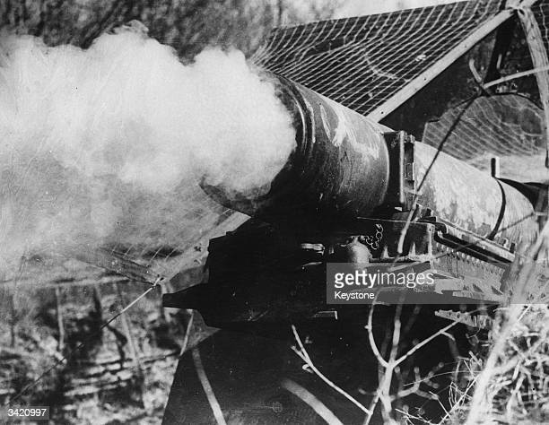 A French gun firing at the advancing Germans during the defence of the Maginot Line in WW II