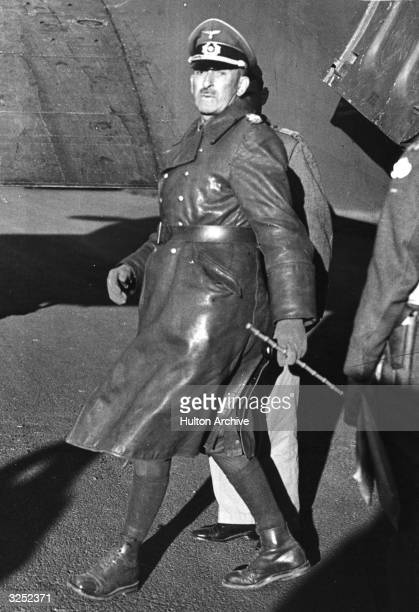 General Jurgen von Armin the Nazi general and Commander of the Axis armies in Tunisia who surrendered to the 4th Indian Division arrives in England...