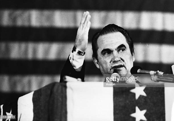 Governor of Alabama George Wallace a candidate for the Democratic Presidential nomination at the podium