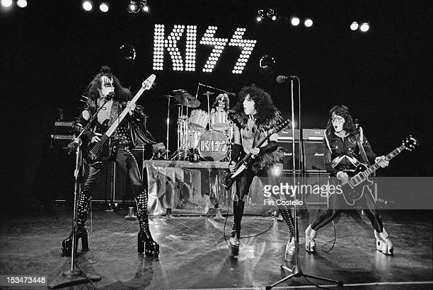 American rock group Kiss perform live on stage at Cobo Hall in Detroit during the concert recording of Alive on 16th May 1975 Left to right Gene...