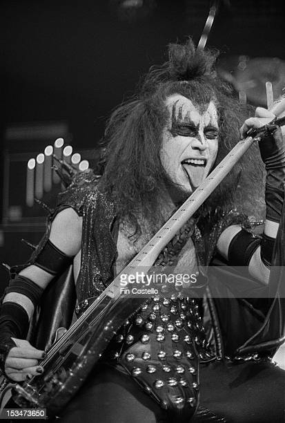 Bassist Gene Simmons from rock group Kiss performs live on stage at Cobo Hall in Detroit during the concert recording of Alive on 16th May 1975