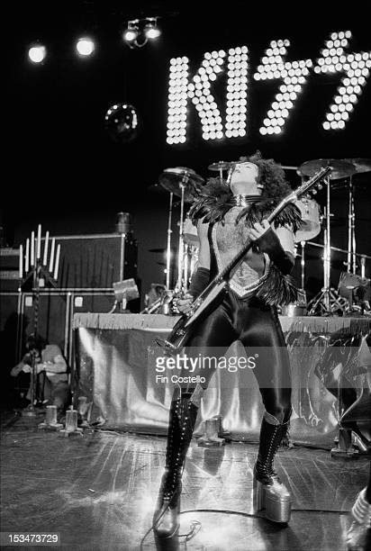 Guitarist Paul Stanley from rock group Kiss performs live on stage at Cobo Hall in Detroit during the concert recording of Alive on 16th May 1975