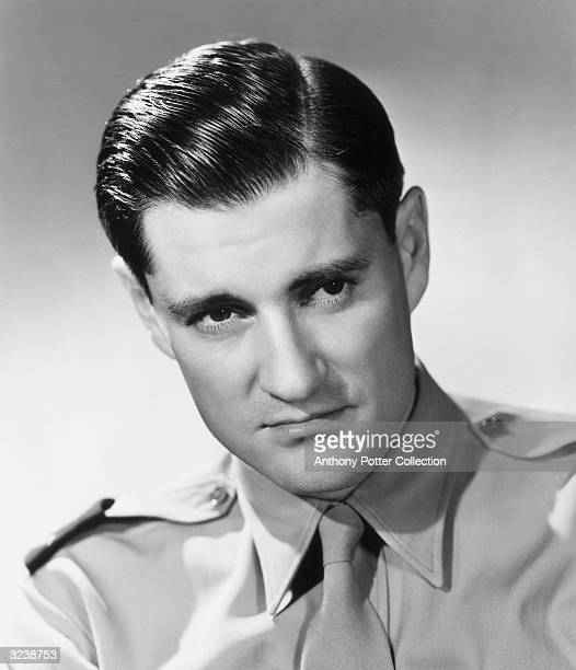 Studio headshot portrait of American broadcast journalist Eric Sevareid in military shirt and tie. Sevareid was recruited by Edward R Murrow for the...