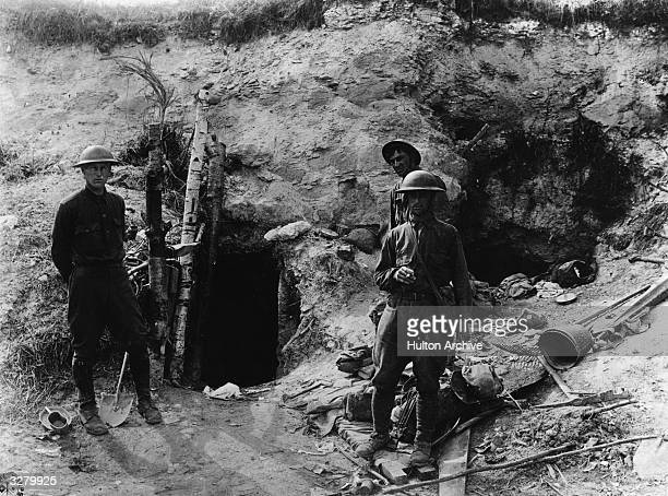 American soldiers outside a captured dugout