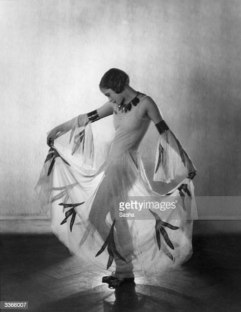 Singer and dancer Bunty Pain one of Cecil B Cochran's chorus girls wearing a diaphanous dress