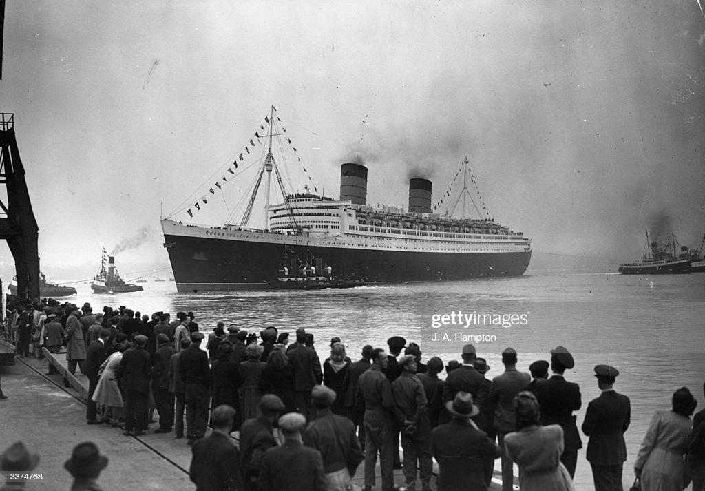 The RMS Queen Elizabeth leaving Southampton on her maiden voyage as a passenger liner.