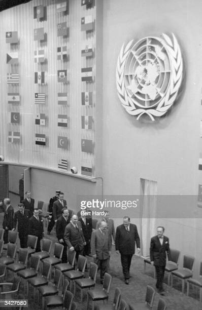 United Nations delegates leaving a conference at the Palais de Chaillot in Paris where the Western powers agreed a joint defences plan Original...