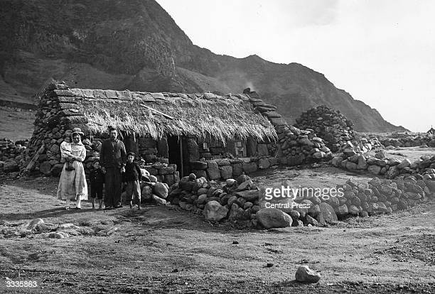 The Green family outside their home on the island of Tristan da Cunha