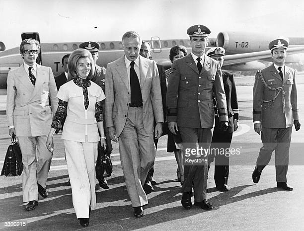 Argentinian President Isabel de Peron nee Maria Estela Martinez returns from a recuperation period and is received by provisory president Dr Italo...