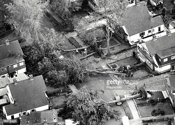 16th October 1987 Worst storms in 300 years in Britain picture shows damage in a residential street in a South London suburb of Orpington which felt...