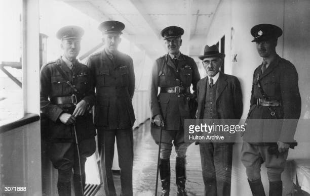 Author, Rudyard Kipling on board the troopship Somersetshire which is en-route for India. He is inspecting the ship in the company of General Sir...
