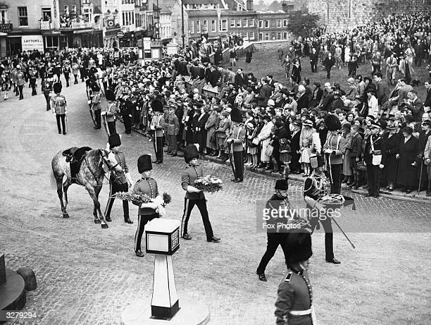 The funeral of Prince Arthur of Connaught the cousin of George VI in Windsor His riderless horse is led in the procession