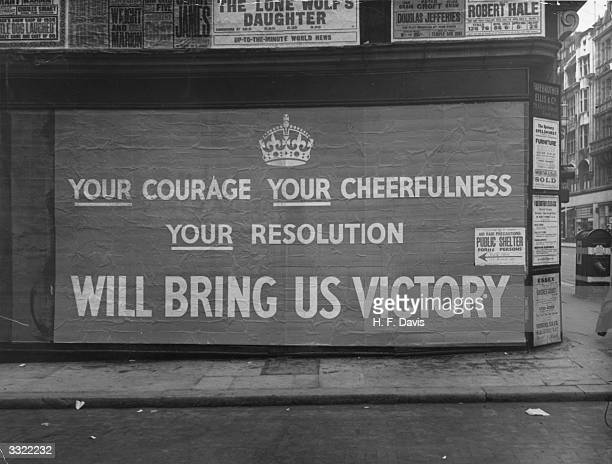 A British wartime poster appearing in the streets of London