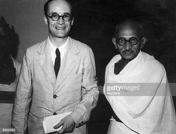 Indian philosopher statesman and nationalist leader Mahatma Gandhi with Lord Listowel Secretary of State for Burma at Government House New Delhi...