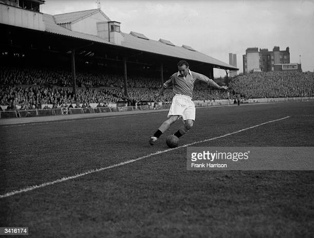 Stanley Matthews of Blackpool Football Club and England in action