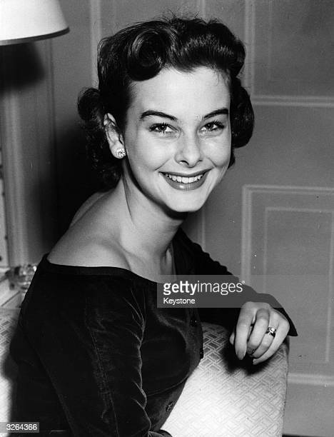 British leading lady in Hollywood Audrey Dalton shows off her fresh complexion at a reception in the Dorchester Hotel London