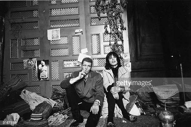 James Fox as London Gangster Chas with Mick Jagger as faded rock superstar Turner on the set of Donald Cammell and Nicolas Roeg's psychological...