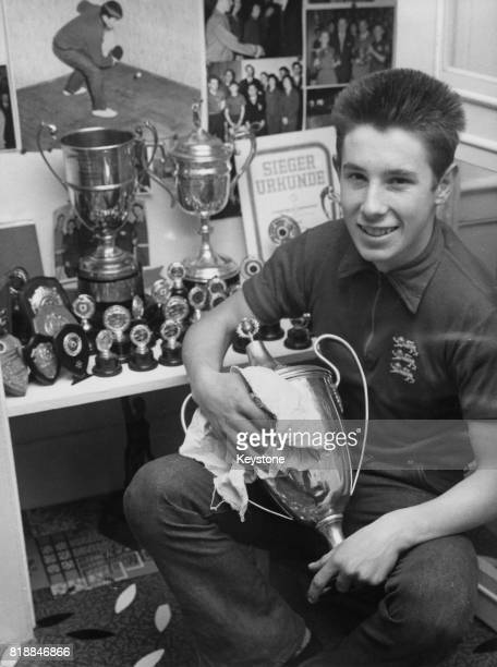 16yearold Chester Barnes English table tennis champion at home with his trophies London UK 1st November 1963