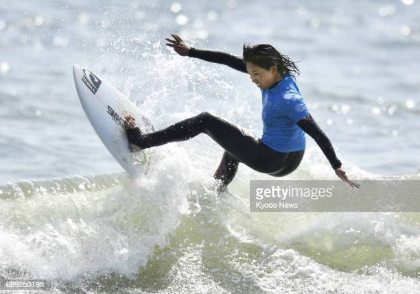16yearold Japanese surfer Minori Kawai competes in the Ichinomiya Chiba Open women's final on May 28 at Tsurigasaki Beach in Chiba Prefecture Kawai...
