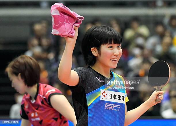 16yearold Miu Hirano celebrates winning the Women's Singles final against Kasumi Ishikawa during day seven of the All Japan Table Tennis...