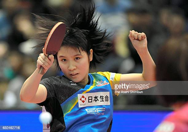 16yearold Miu Hirano competes in the Women's Singles final against Kasumi Ishikawa during day seven of the All Japan Table Tennis Championships at...