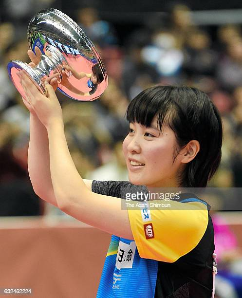 16yearold Miu Hirano receives the trophy after winning the Women's Singles final against Kasumi Ishikawa during day seven of the All Japan Table...