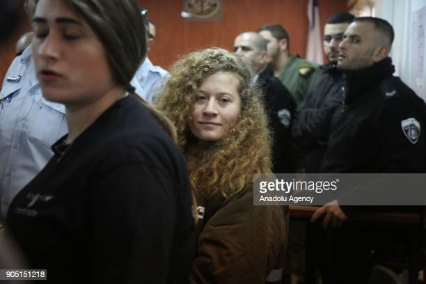 16yearold Palestinian activist Ahed alTamimi well known for her bold activism for a free Palestine stands for a hearing at Ofer military court in...