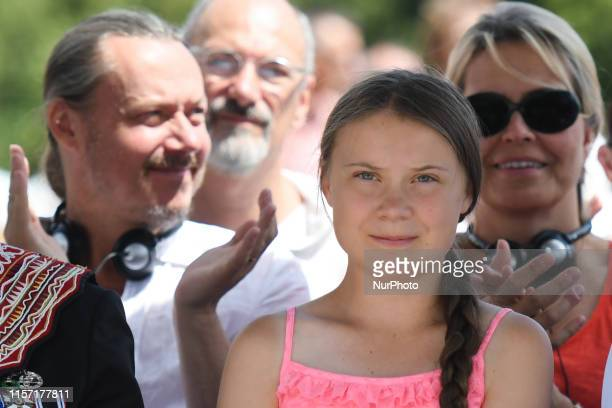 A 16yearold Swedish climate activist Greta Thunberg accompanied by her parents Malena Ernman and Svante Thunberg during the 2019 Freedom Award...