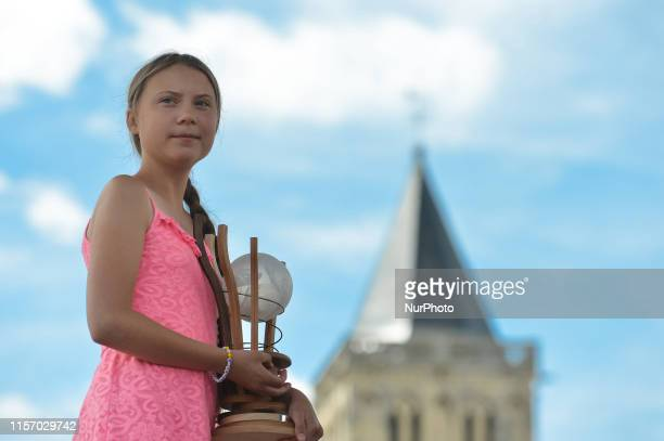 A 16yearold Swedish climate activist Greta Thunberg receives the 2019 Freedom Award Ceremony in AbbayeauxDames Caen On Sunday July 21 in Caen...