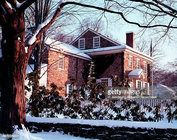 1700s WASHINGTON'S HEADQUARTERS IN WINTER SNOW VALLEY FORGE PA USA
