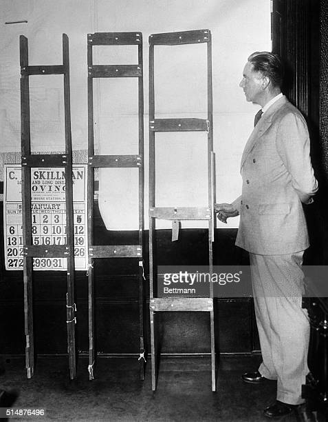 1/7/1935Flemington NJ The three parts of the ladder which the state claims Bruno RichaRD Hauptmann used to kidnap the Lindbergh baby from its home in...