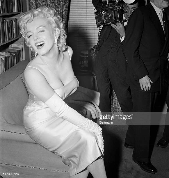 1/7/1955New York NY Marilyn Monroe poses for the photographer at a cocktail party thrown by attorney Frank Delaney