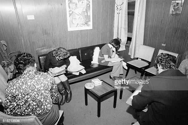 1/7/1971New York NY View of the waiting room at the Women's Medical Services abortion clinic Women are shown here filling out questionnaires