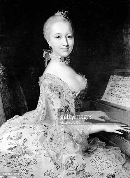 *17221789Bildender Künstler Maler DBildnis Fräulein von Siersdorff am Spinett Gemälde aus der Schönheitgalerie von Landgraf Wilhelm VIII von Hessen...