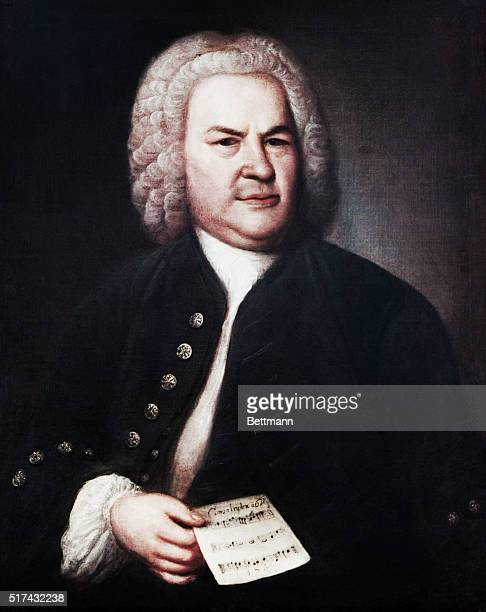1746Painting by E G Hausmann of German composer Johann Sebastian Bach Bach is depicted from the waist up holding a sheet of music The painting was...