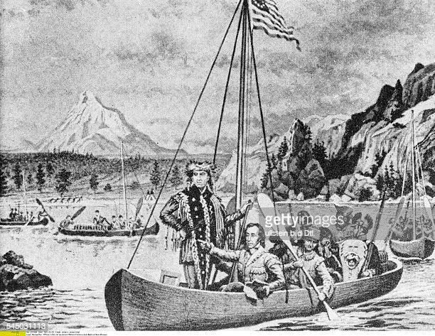17741809Offizier Forschungsreisender USACaptain Meriwether Lewis mit seinem Begleiter Lieutenant William Clark in einem Boot auf dem Oberlauf des...