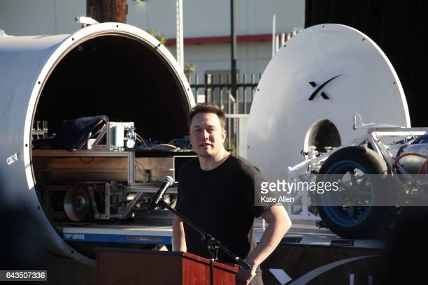 Elon Musk speaks at the Hyperloop pod competition on January 29 2017 To accelerate the development of a functional Hyperloop prototype a high speed...